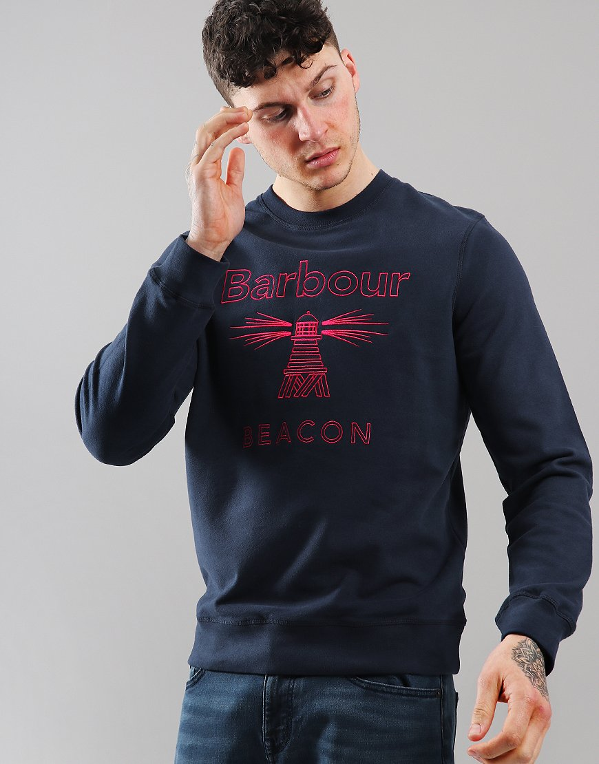 Barbour Beacon Stitch Crew Neck Sweat Navy