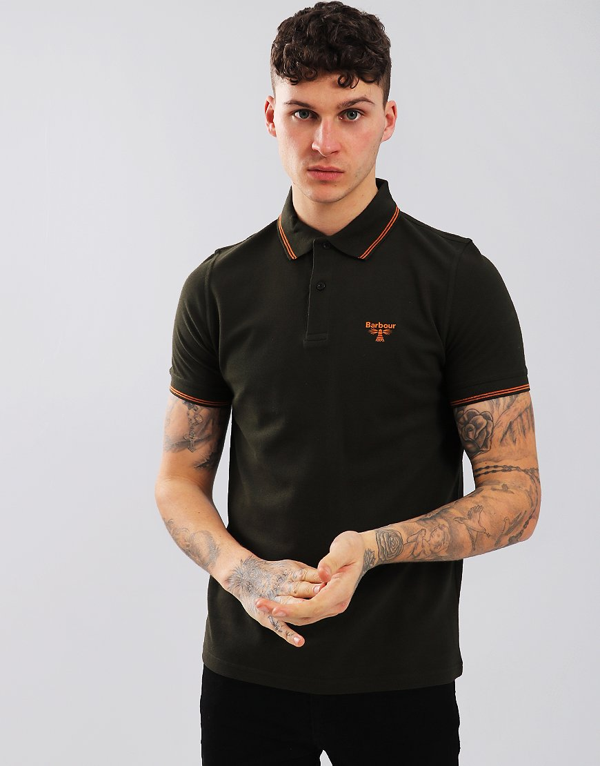 Barbour Beacon Tipped Polo Shirt Forest