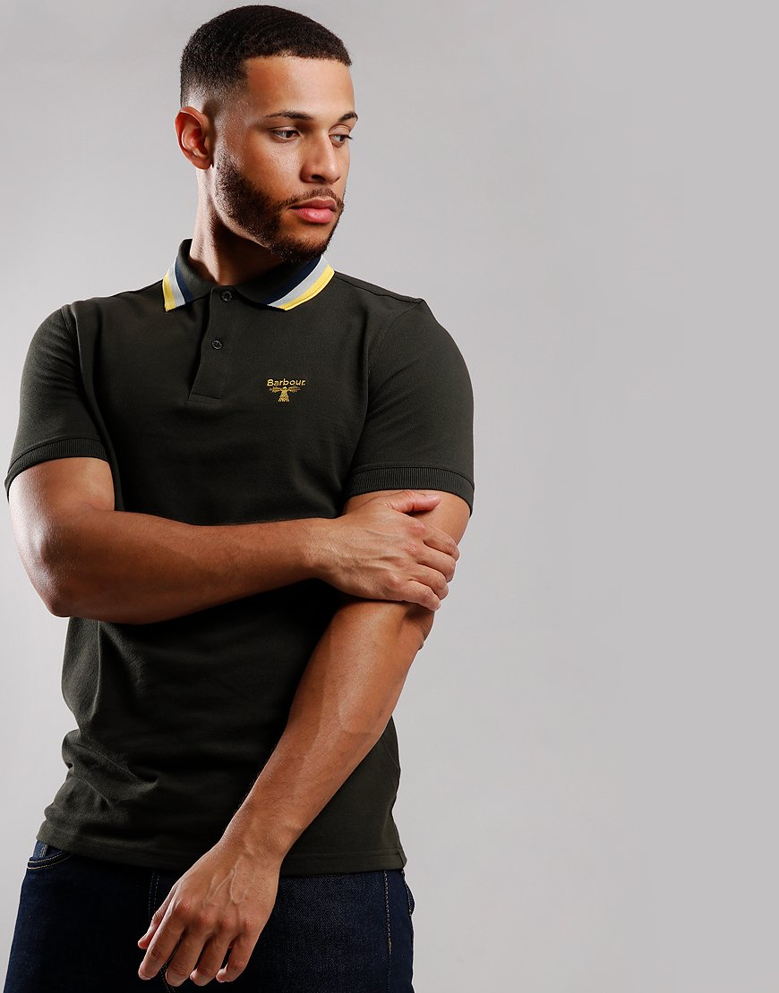 Barbour Beacon Tricolour Tipped Polo Shirt Sage