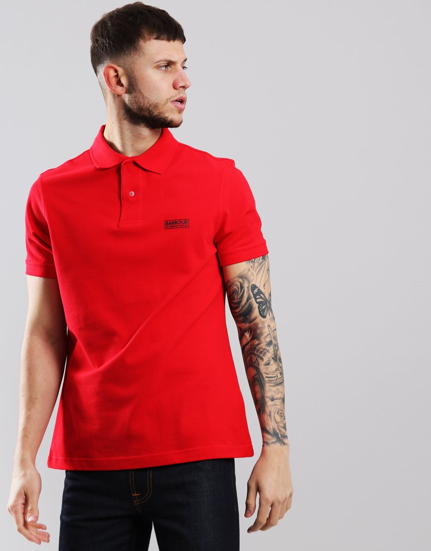 Barbour International Essential Polo Shirt Vibrant Red