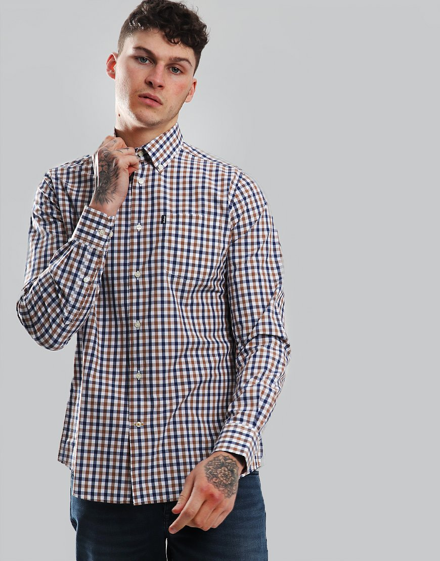 Barbour Gingham 4 Tailored Shirt Mocha Check