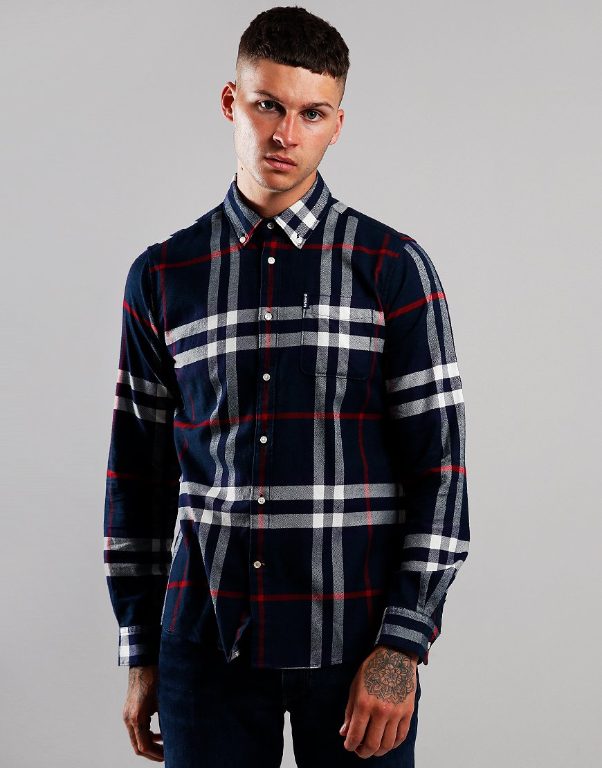 Barbour Highland Check 18 Tailored Long Sleeve Shirt Navy
