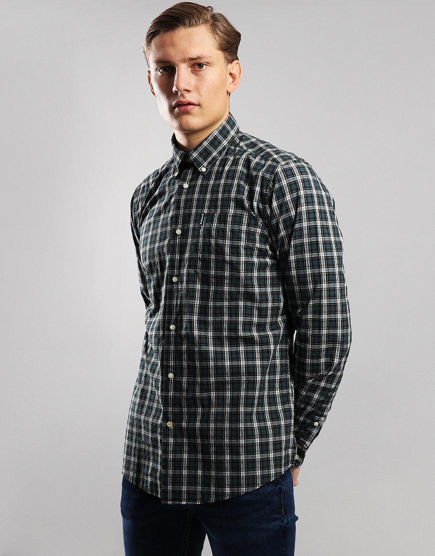 Barbour Highland Check 8 Tailored Long Sleeve Shirt Green
