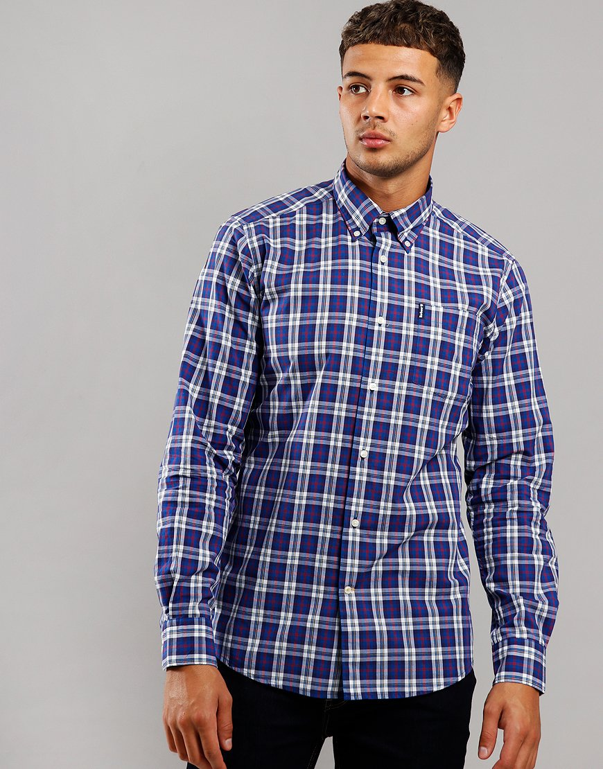 Barbour Highland Check 8 Tailored Long Sleeve Shirt Blue