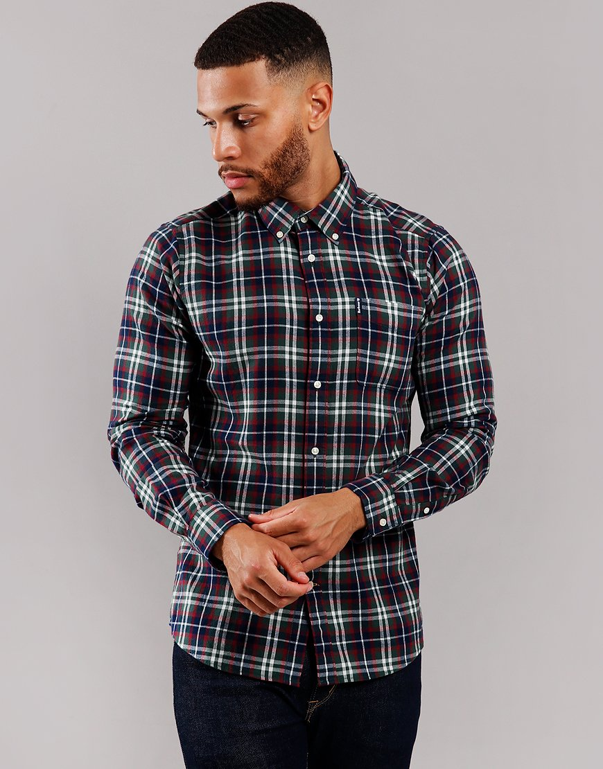 Barbour Highland Check 15 Tailored Long Sleeve Shirt Racing Green
