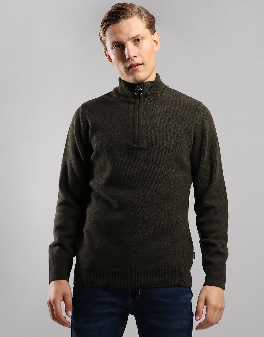 Barbour Holden Half Zip Knit Olive