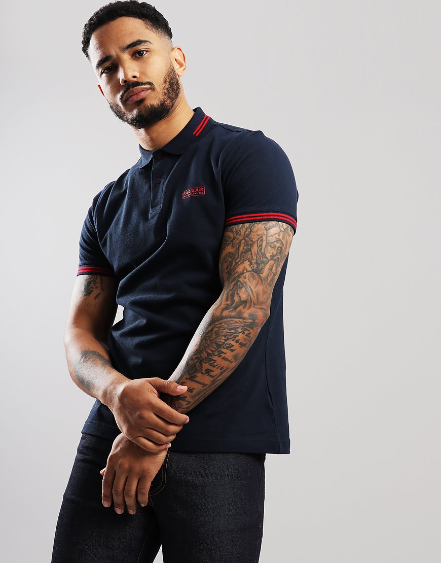Barbour International Essential Tip Polo Shirt Navy