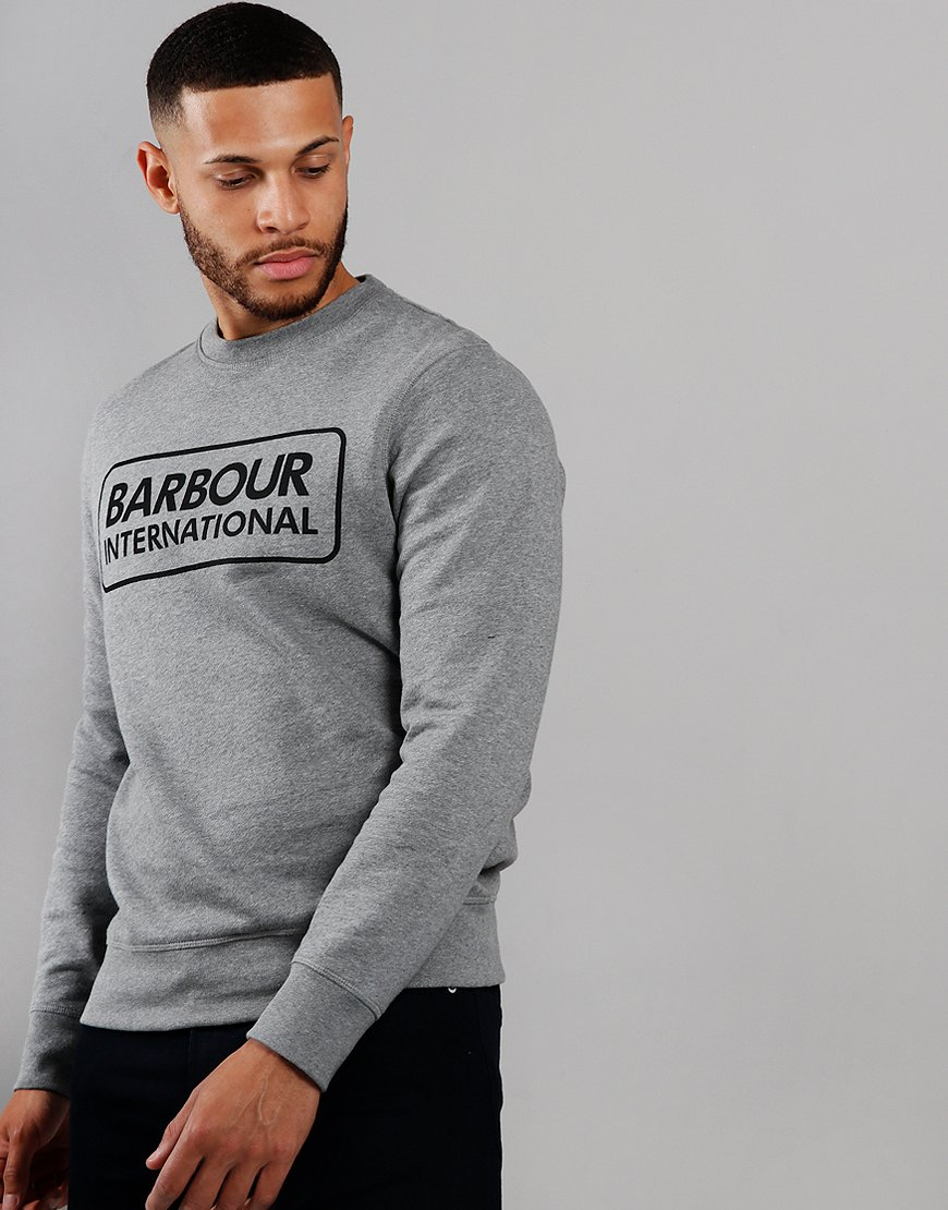 Barbour International Large Logo Crew Neck Sweat Grey