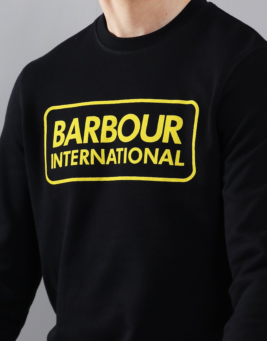 Barbour International Large Logo Crew Neck Sweat Black