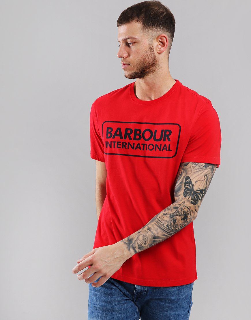 Barbour International Essential Large Logo T-Shirt Vibrant Red