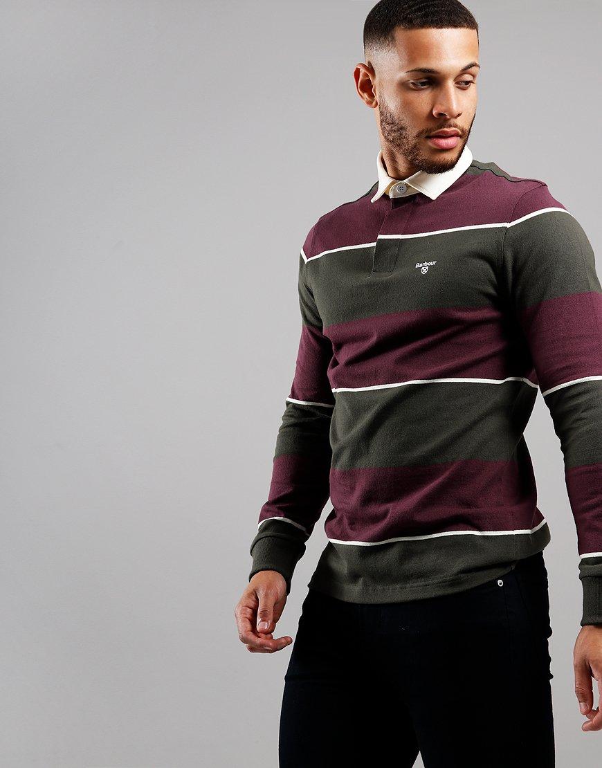 Barbour Lark Stripe Long Sleeve Rugby Polo Merlot