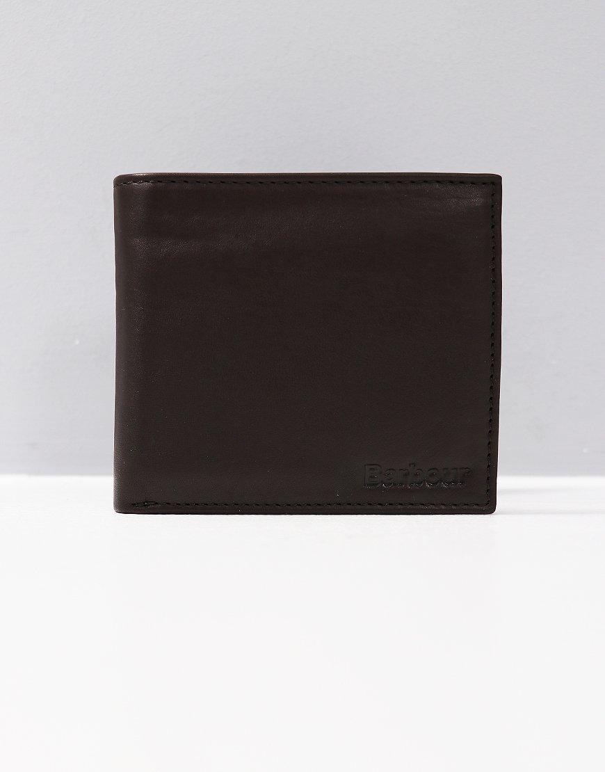 Barbour Leather Billfold Wallet Dark Brown