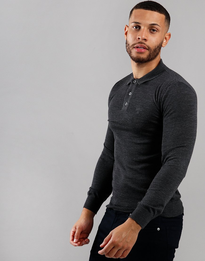 Barbour Merino Long Sleeve Polo Shirt Charcoal