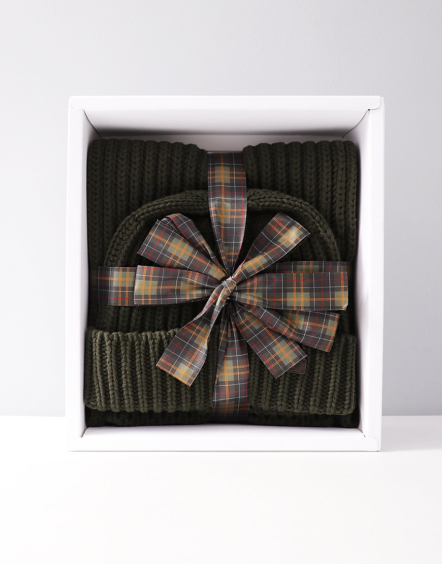 Barbour Mens Chunky Rib Knitted Gift Set Green