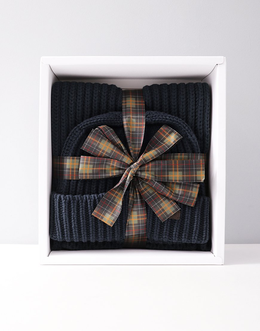 Barbour Mens Chunky Rib Knitted Gift Set Navy