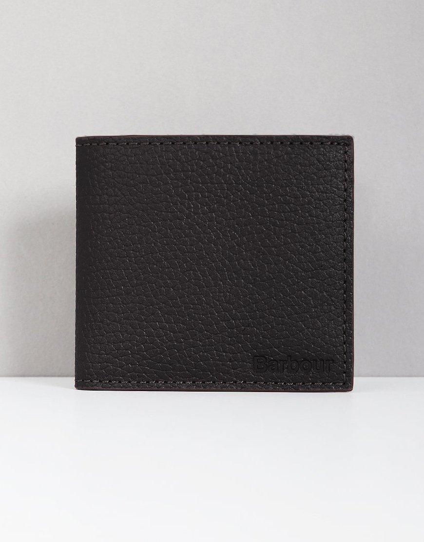 Barbour Grain Leather Billfold Wallet Black