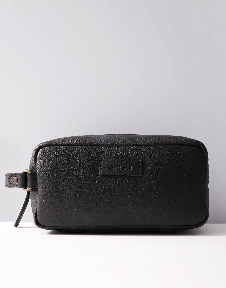 Barbour Leather Wash Bag Black