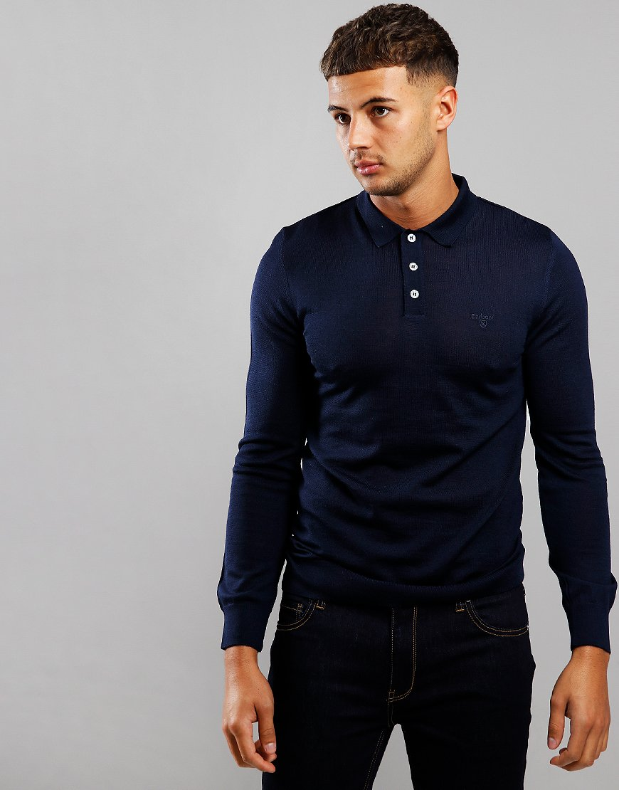 Barbour Merino Long Sleeve Polo Shirt Navy
