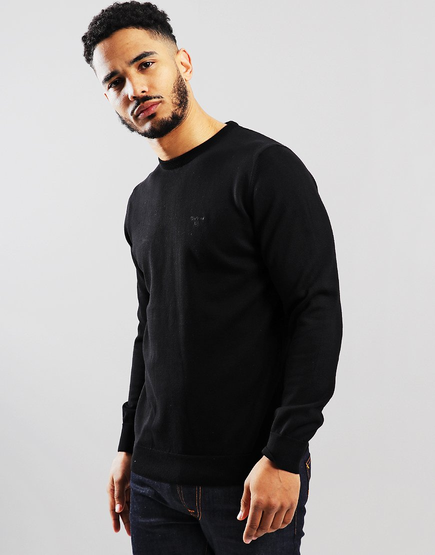 Barbour Pima Cotton Crew Neck Knit  Black