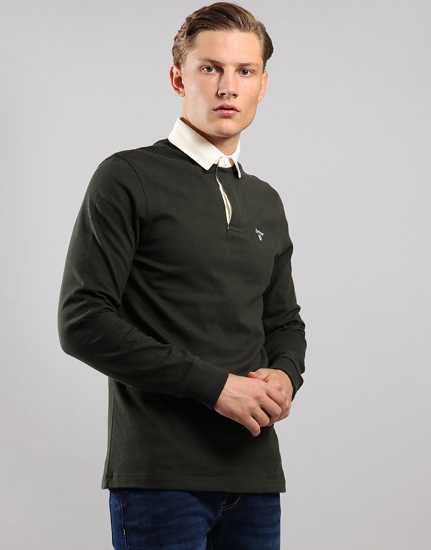 Barbour Shield Rugby Long Sleeve Polo Shirt Dark Forest