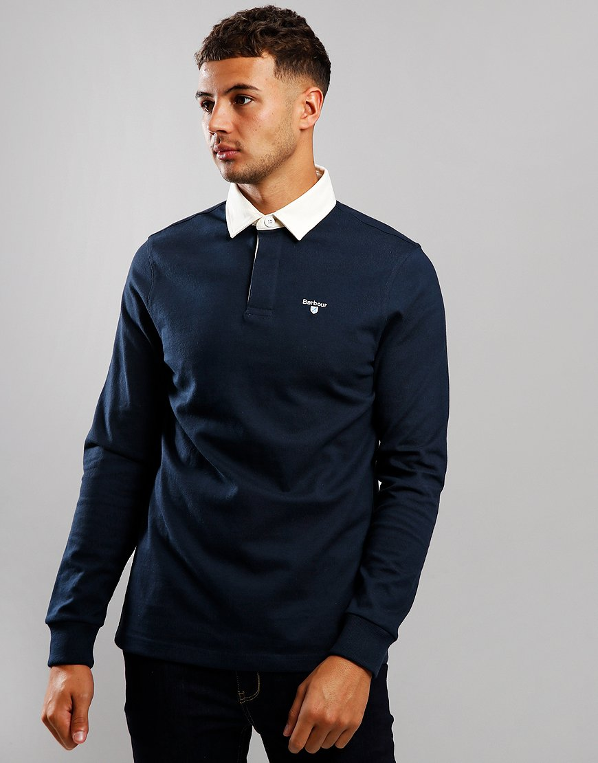 Barbour Shield Rugby Long Sleeve Polo Shirt Navy