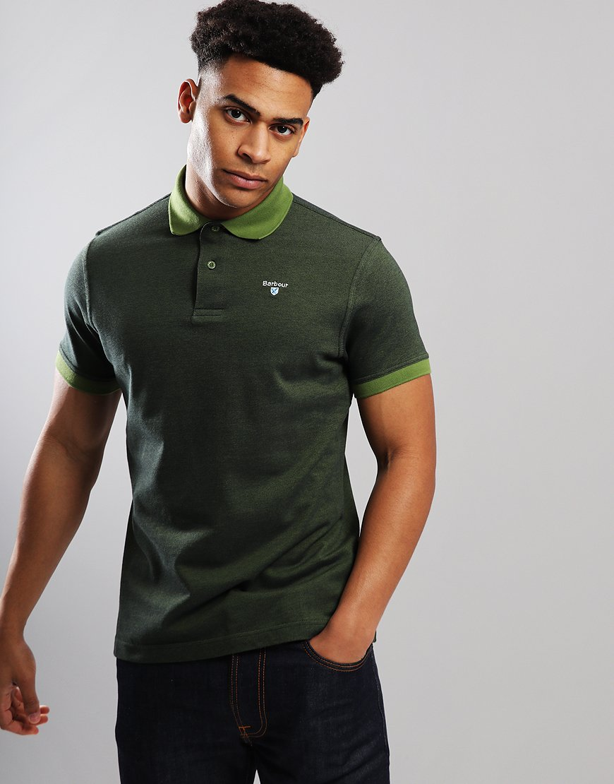 Barbour Sports Mix Polo Shirt Vintage Green