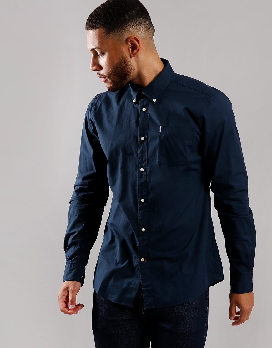 Barbour Stretch Tailored Fit Poplin 1 Long Sleeve Shirt Navy