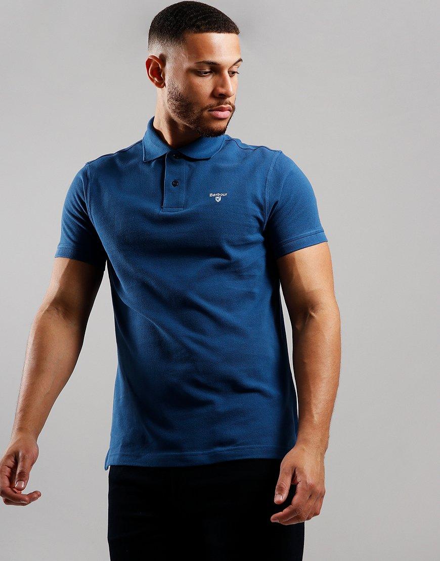 Barbour Tartan Piqué Polo Shirt Deep Blue
