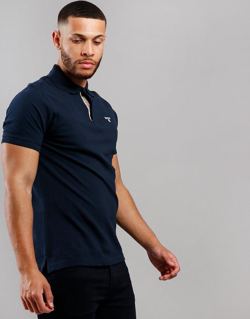 Barbour Tartan Piqué Polo Shirt New Navy