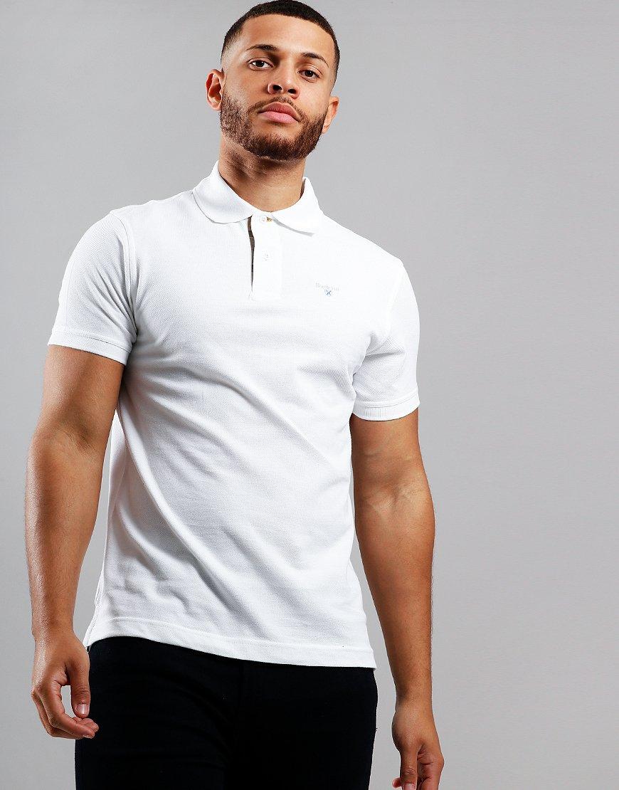 Barbour Tartan Piqué Polo Shirt White
