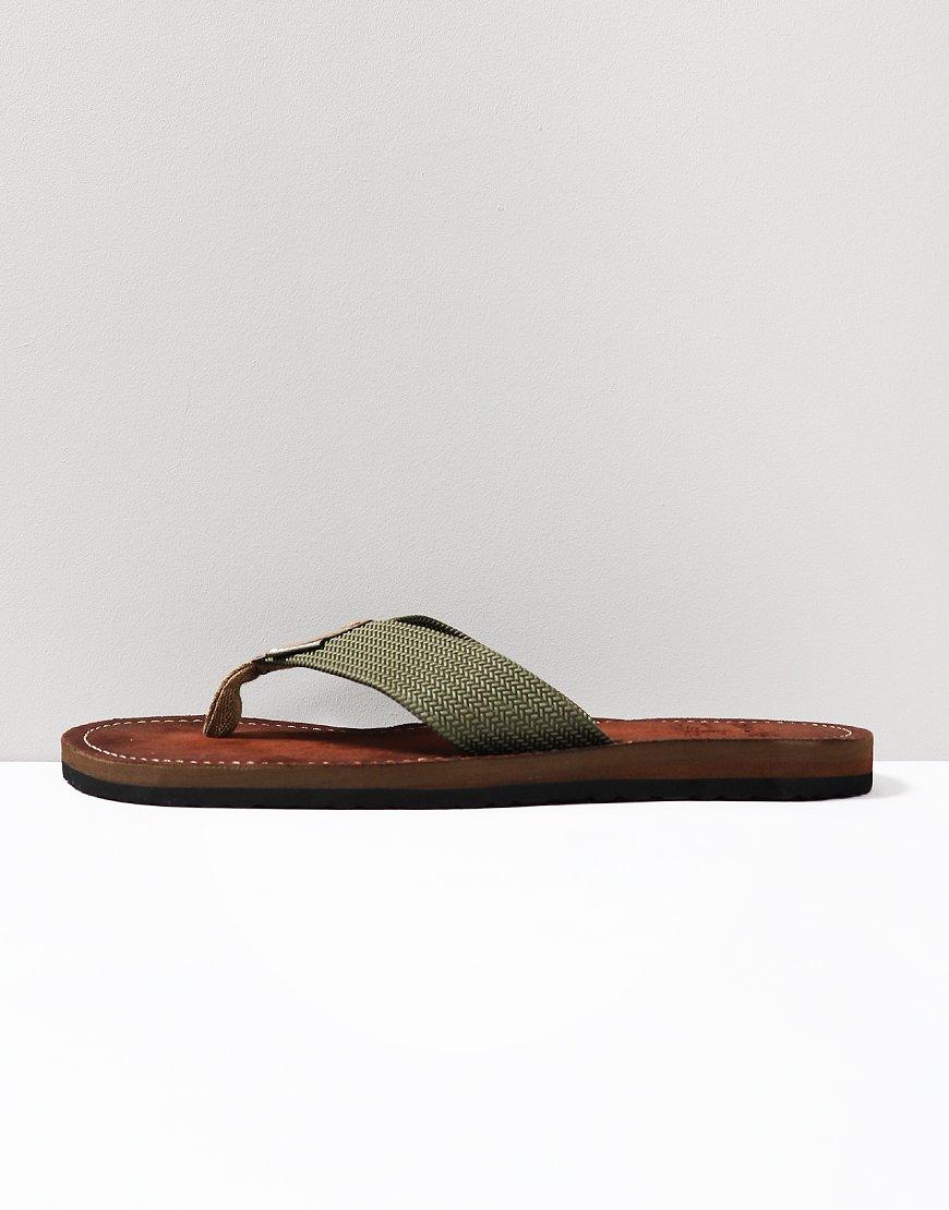 Barbour Toeman Woven Flip Flops Olive