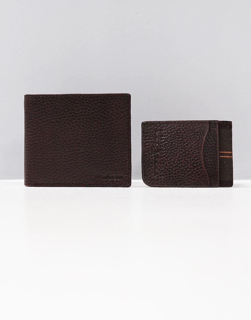 Barbour Wallet & Card Gift Set Dark Brown