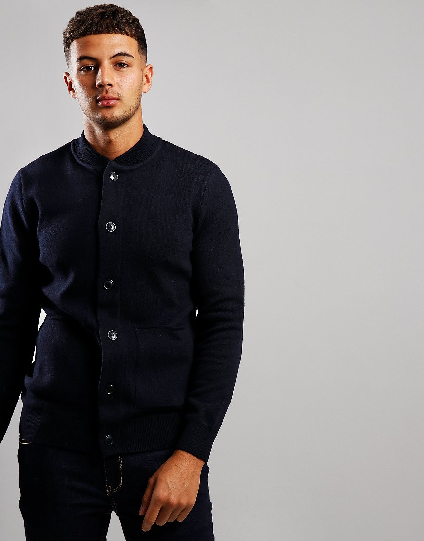 Barbour Witton Button Through Knit Jacket Navy