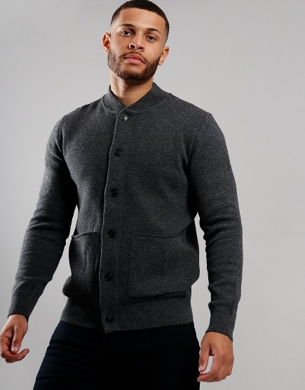 Barbour Witton Button Through Knit Jacket Dark Grey
