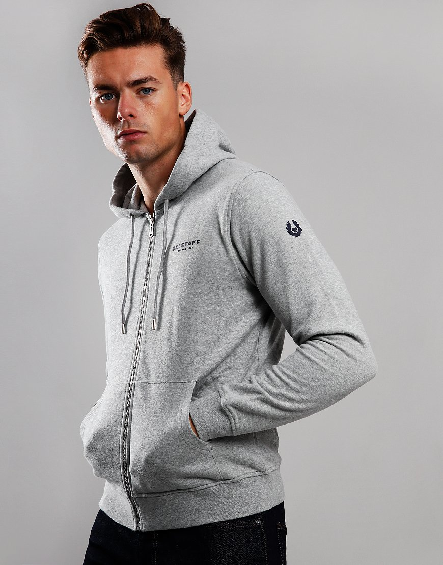 Belstaff 1924 Hooded Zip Sweat Grey Melange