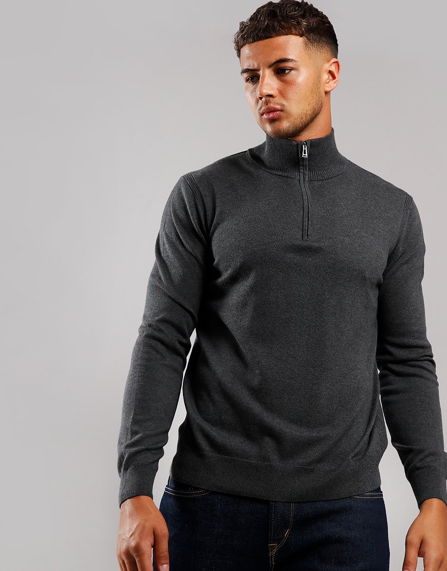 Belstaff Bay Half Zip Knit Charcoal Melange