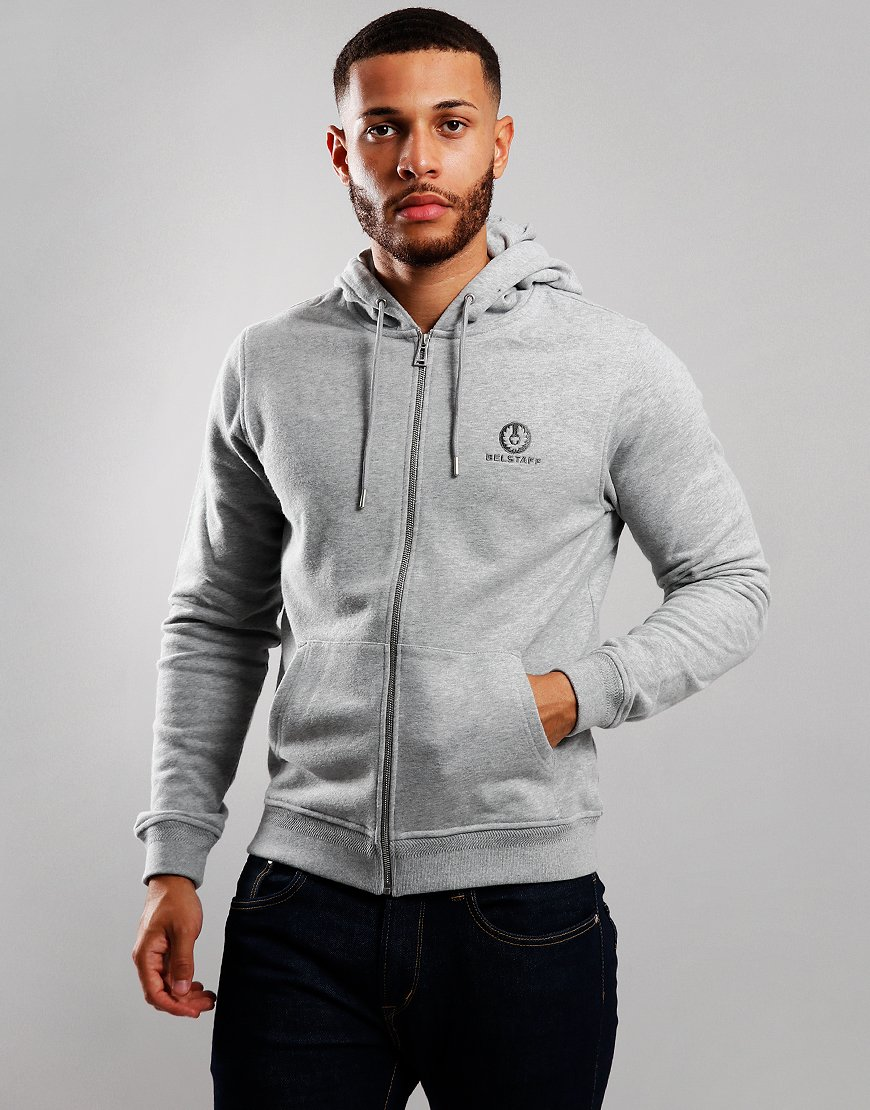 Belstaff Hooded Zip Sweat Grey Melange