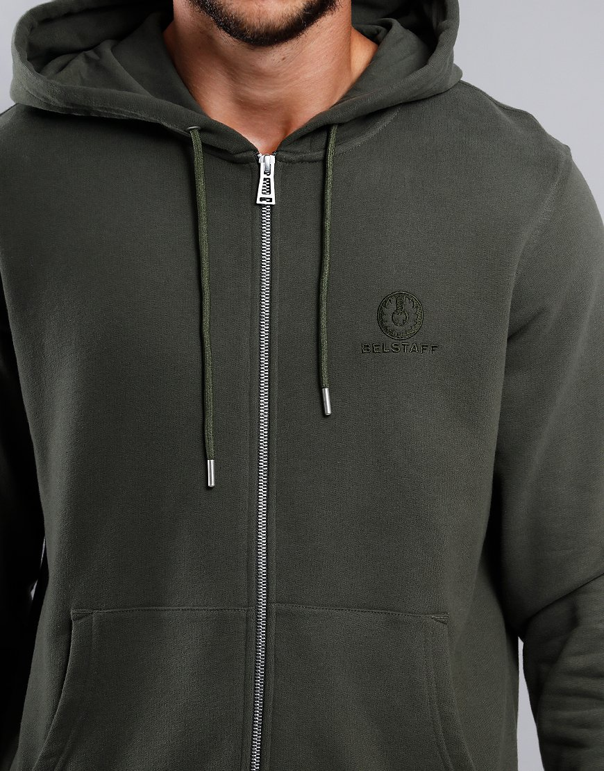 Belstaff Hooded Zip Sweat  Dark Pine