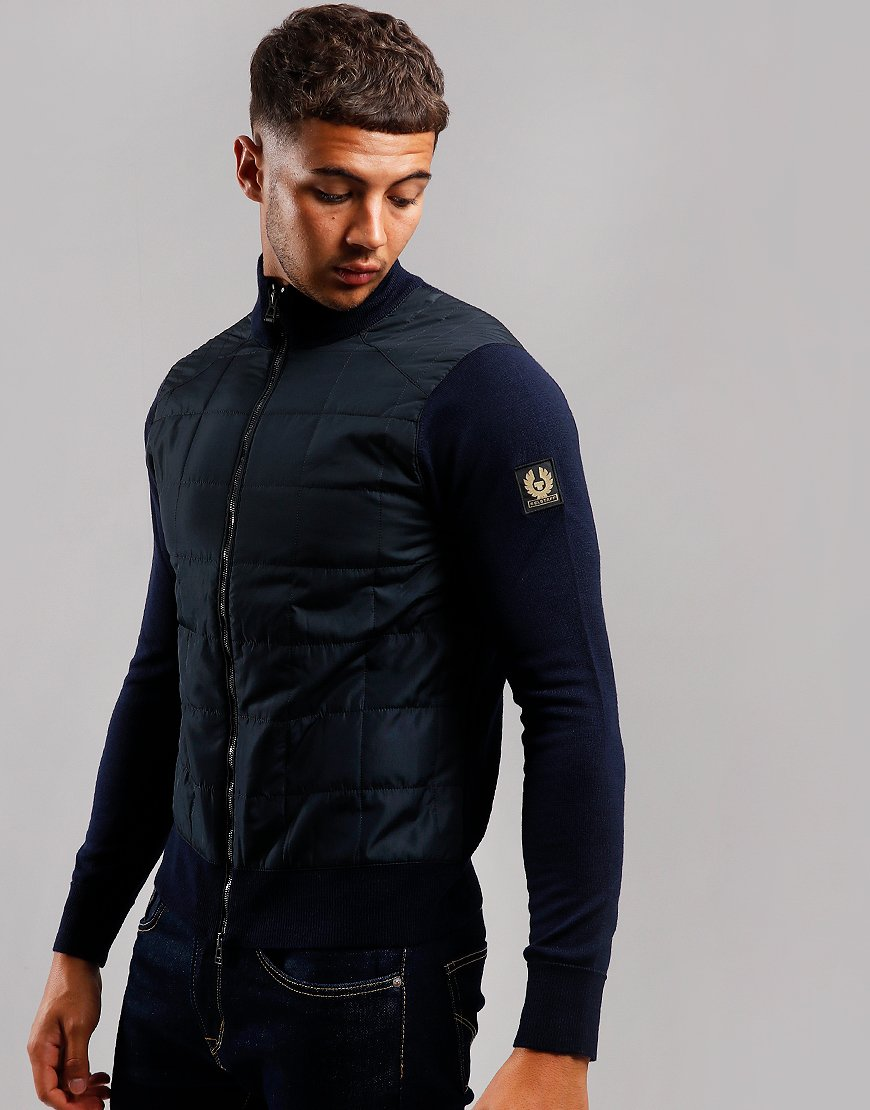 Belstaff Kelby Padded Zip Wool Knit Washed Navy