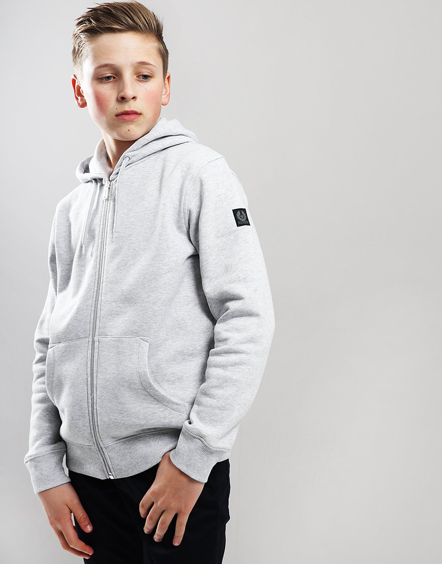 Belstaff Kids Oakdene Zip Hooded Sweat Pale Grey Melange