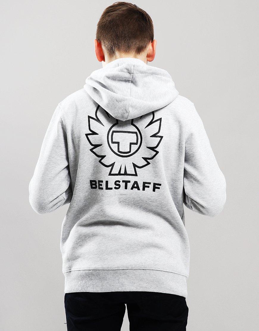 Belstaff Kids Oakdene Zip Hooded Sweat Pale Grey Melange