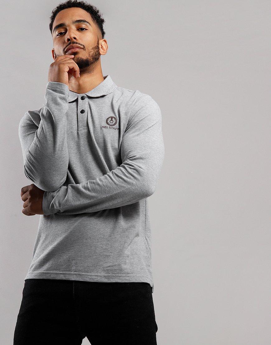 Belstaff Long Sleeve Polo Shirt Charcoal Melange