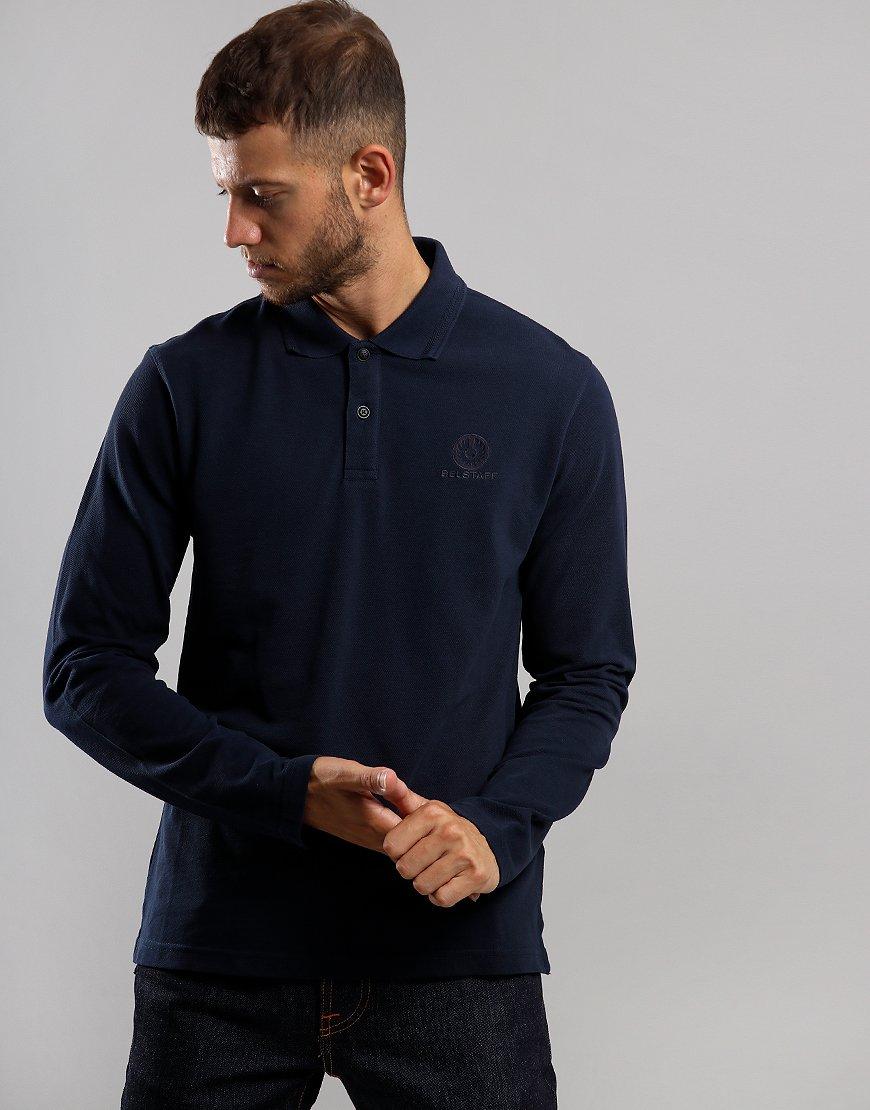 Belstaff Long Sleeve Polo Shirt Navy