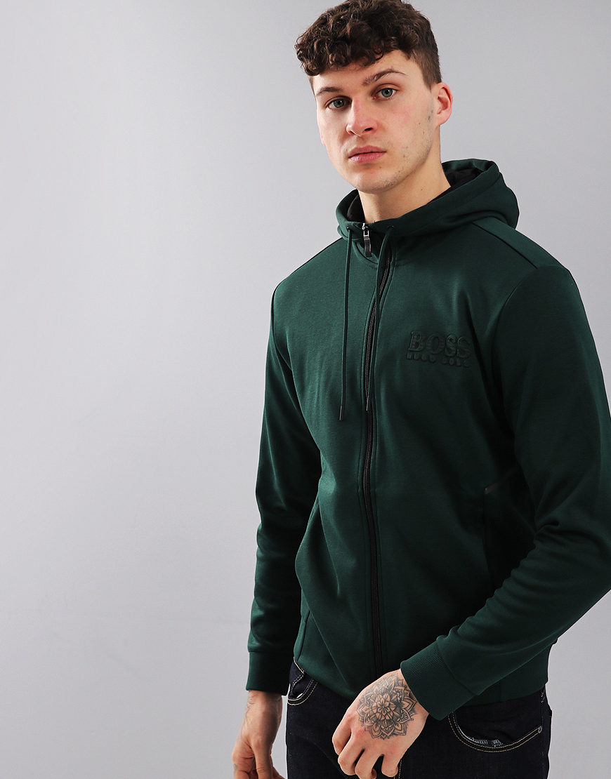 BOSS Hooded Logo Zip Sweat Open Green