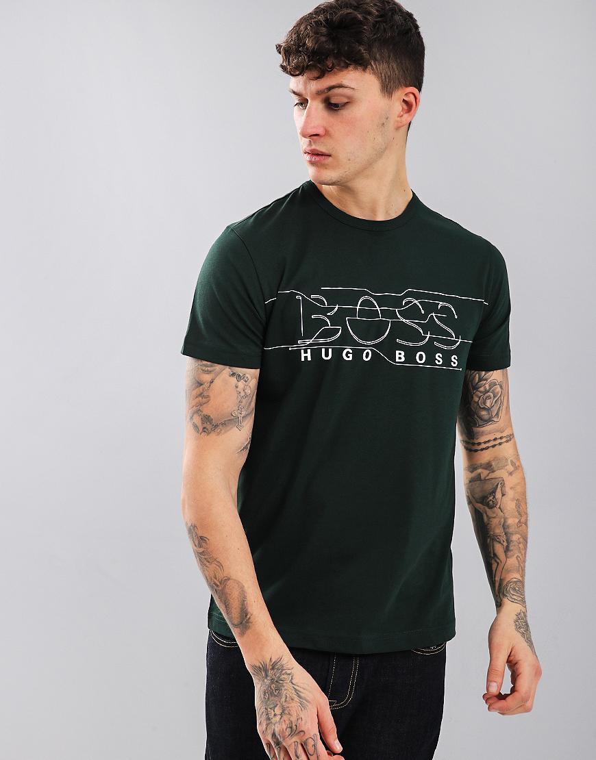 BOSS Crew Neck Logo T-Shirt Open Green
