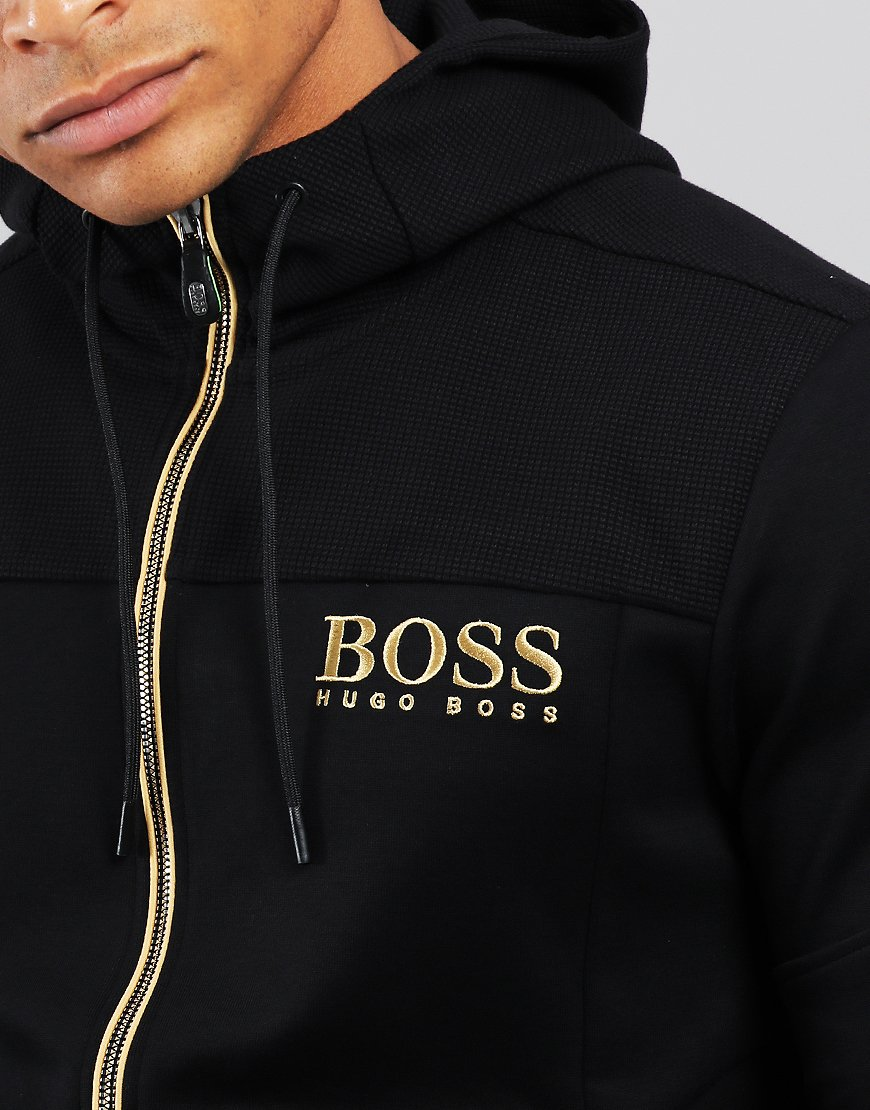 super cheap compares to united states hot-seeling original BOSS Saggy Hooded Logo Zip Sweat Black