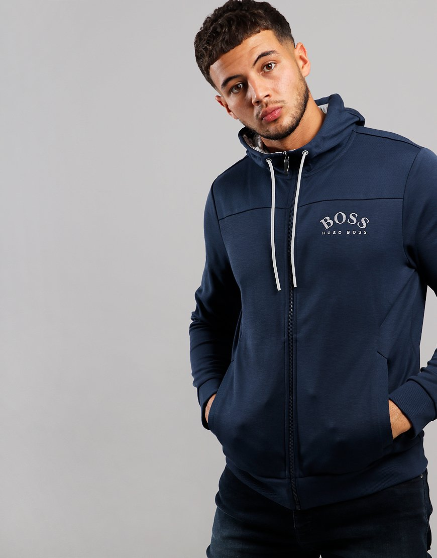 BOSS Saggy Hooded Zip Sweat Navy