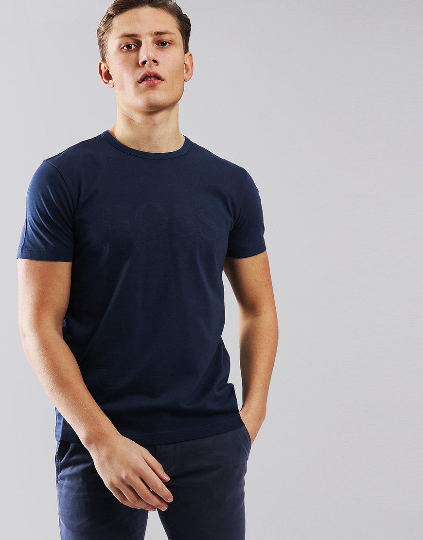 BOSS Cotton T-shirt With Tonal Print Navy