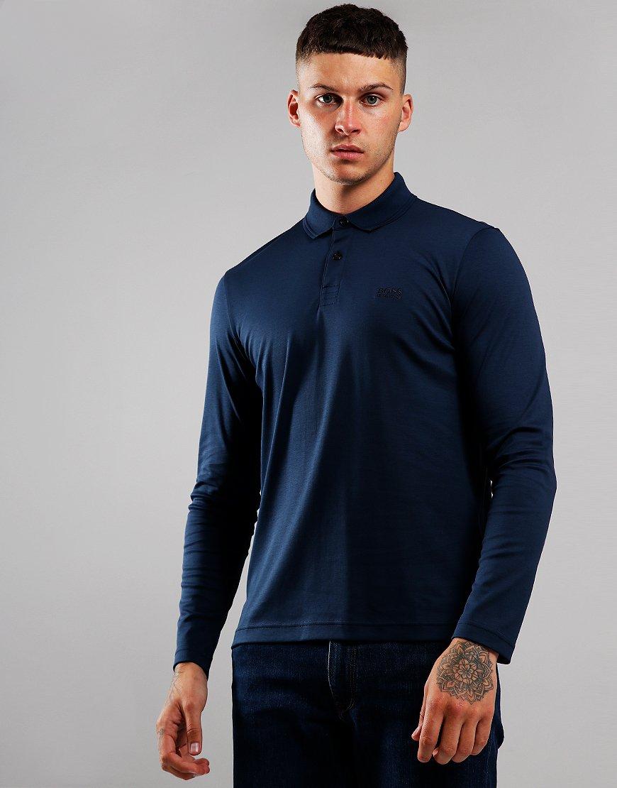 BOSS Pirol Long Sleeve Polo Shirt Navy