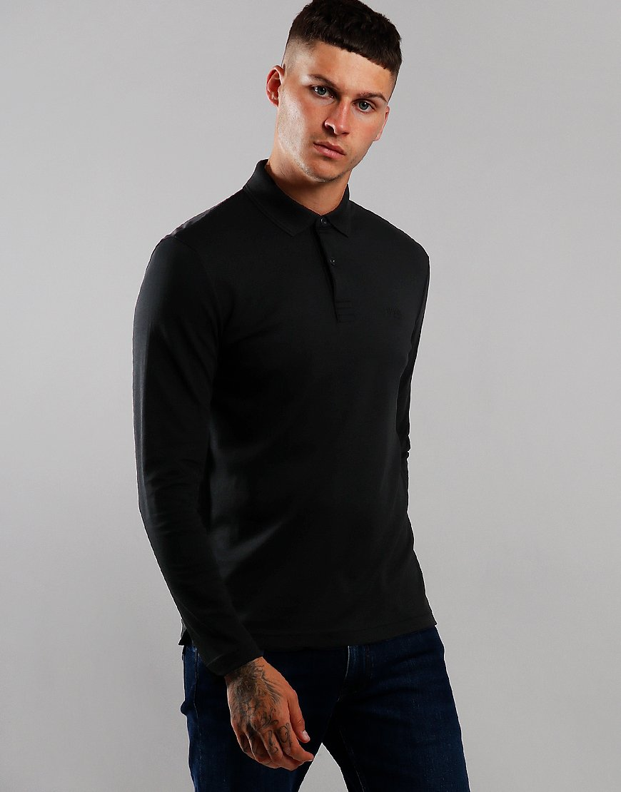 BOSS Pirol Long Sleeve Polo Shirt Black